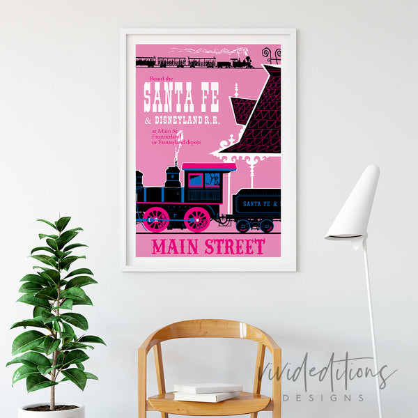 Santa Fe Railroad, Disneyland Poster Art Print - VIVIDEDITIONS