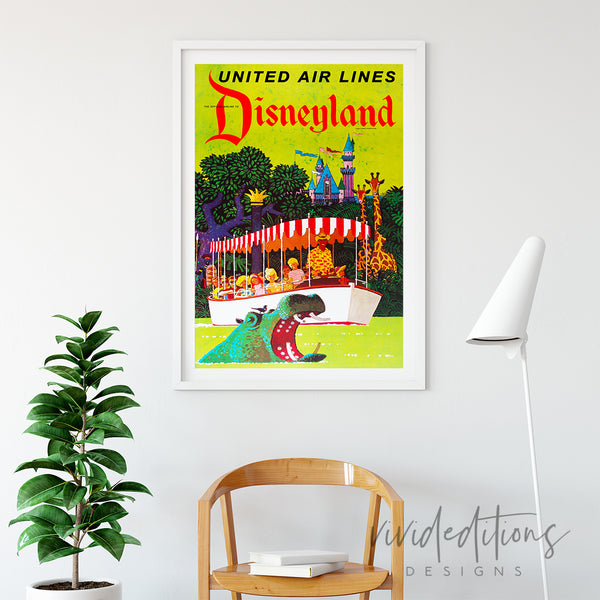 Disneyland Poster United Airlines Jungle River