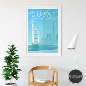 Dubai Skyline City Travel Poster Art Print - VIVIDEDITIONS