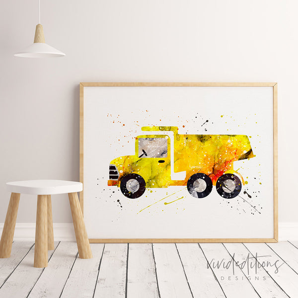 Construction Dump Truck Art Print Poster, Boy's Nursery Toy Truck Wall Decor, Boy Bedroom Poster Print, Baby Shower Gift Not Framed