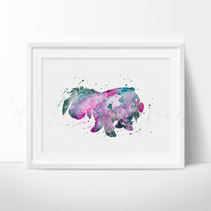 Eeyore, Winnie the Pooh Watercolor Art Print Art Print - VIVIDEDITIONS