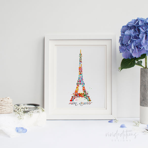 Eiffel Tower Paris, France Watercolor Art Print Art Print - VIVIDEDITIONS