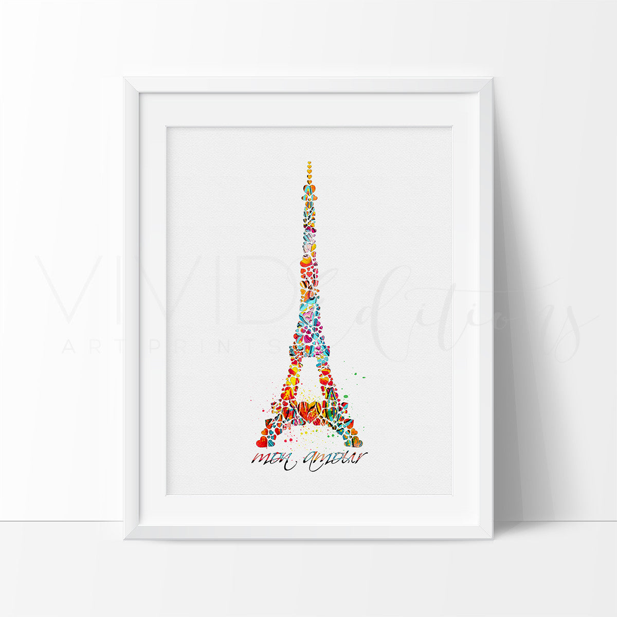 eiffel tower paris france watercolor art print wall decor