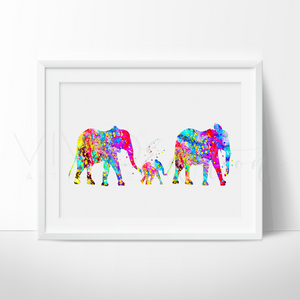 Elephant Family 4 Art Print - VIVIDEDITIONS
