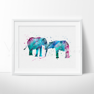 Elephant Family 3 Watercolor Art Print Art Print - VIVIDEDITIONS