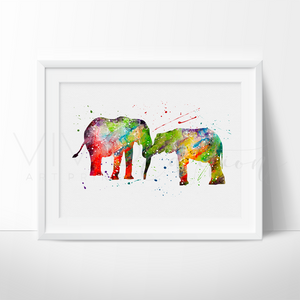 Elephant Family 2 Watercolor Art Print Art Print - VIVIDEDITIONS