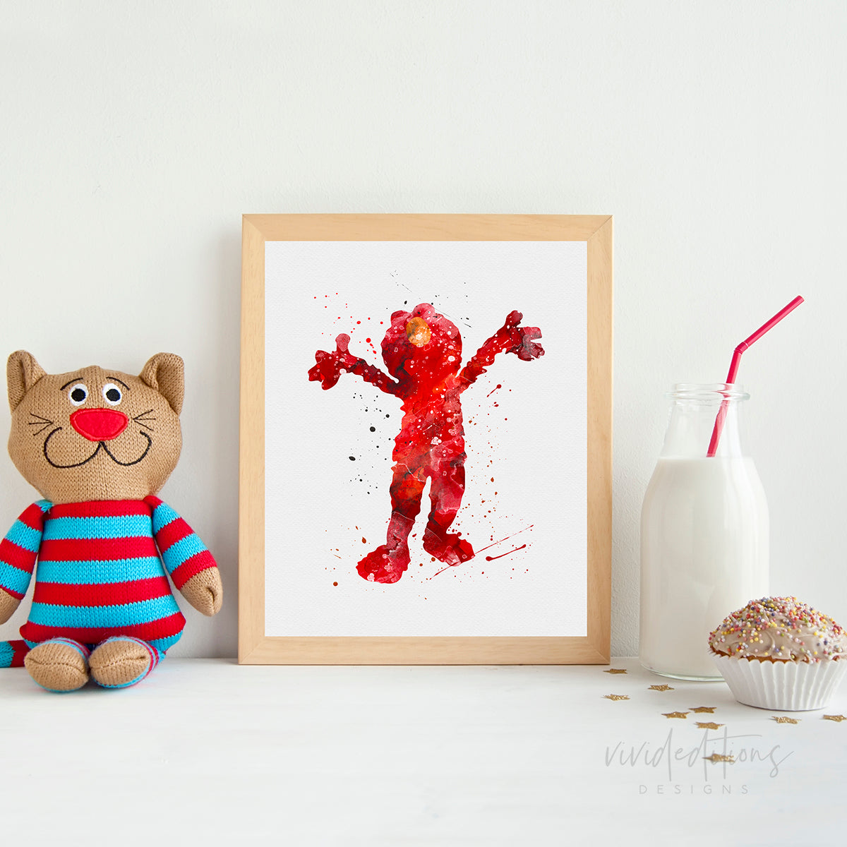 Elmo, Sesame Street Watercolor Art Print Art Print - VIVIDEDITIONS
