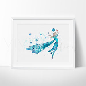 Princess Elsa, Frozen Watercolor Art Print Art Print - VIVIDEDITIONS