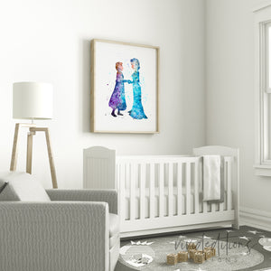 Princess Elsa & Anna Watercolor Art Print Art Print - VIVIDEDITIONS