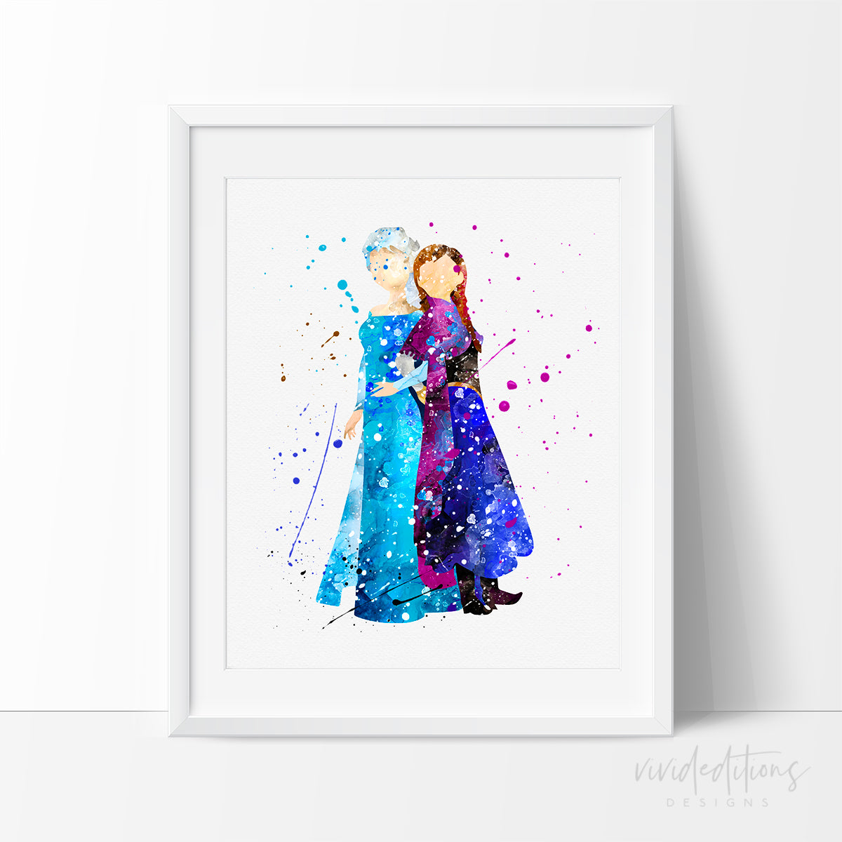 Princess Elsa & Anna 6 Watercolor Art Print Art Print - VIVIDEDITIONS