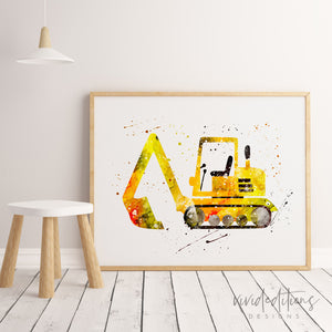 Construction Excavator Truck Art Print Art Print - VIVIDEDITIONS