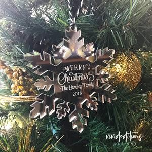 Personalized Family Name Snowflake Christmas Ornament, Acrylic Art Print - VIVIDEDITIONS