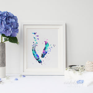 Birds & Feathers Watercolor Art Print Art Print - VIVIDEDITIONS