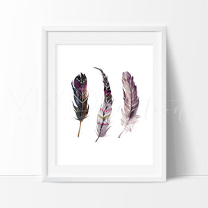 Boho Feathers 2 Art Print - VIVIDEDITIONS