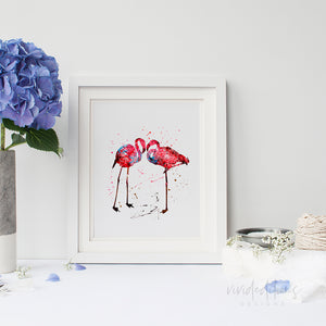 Flamingos Watercolor Art Print Art Print - VIVIDEDITIONS