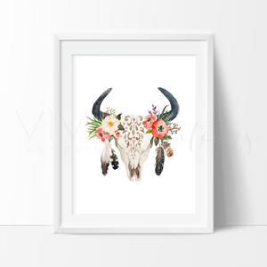 Floral Cow Skull + Feathers, Boho Art Art Print - VIVIDEDITIONS
