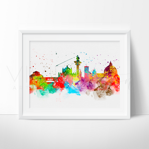 Florence Skyline Watercolor Art Print Art Print - VIVIDEDITIONS
