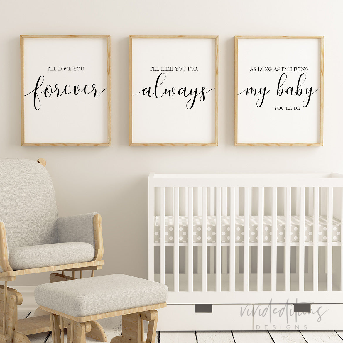 Love You Forever Nursery Quote Prints Set Of 3 Vivideditions