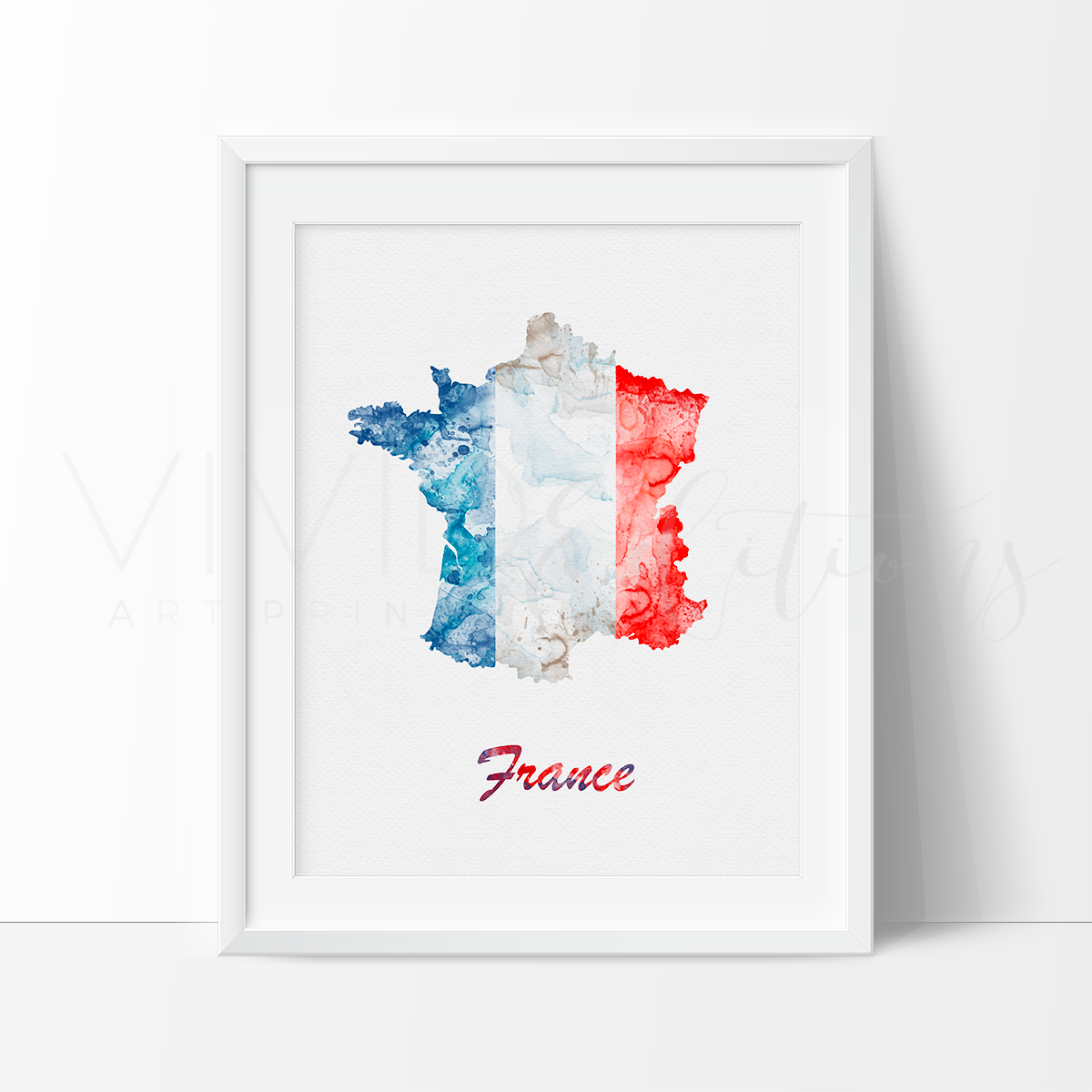 Map Of France To Print.Map Of France Watercolor Art Print