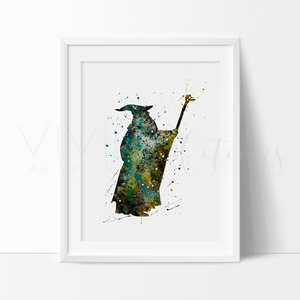 Gandalf, Lord of the Rings Watercolor Art Print Art Print - VIVIDEDITIONS