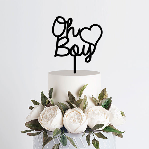 Gender Reveal Cake Topper - Oh Boy - Black Acrylic