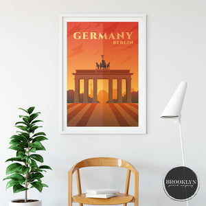 Germany Skyline City Art Travel Poster Art Print - VIVIDEDITIONS