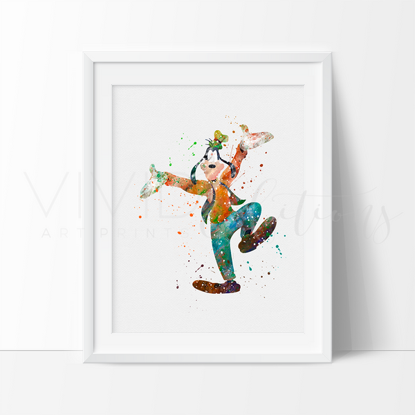 Goofy 3 Watercolor Art Print Art Print - VIVIDEDITIONS