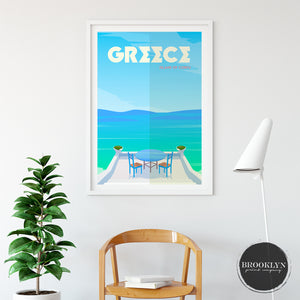 Greece Landscape Art Travel Poster Art Print - VIVIDEDITIONS