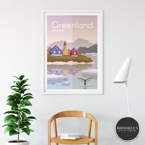 Greenland Skyline City Art Travel Poster Art Print - VIVIDEDITIONS