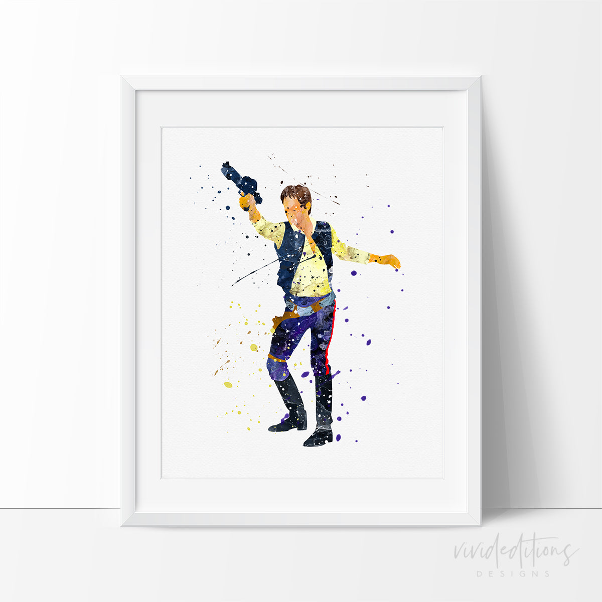 Han Solo Star Wars Watercolor Art Print Art Print - VIVIDEDITIONS