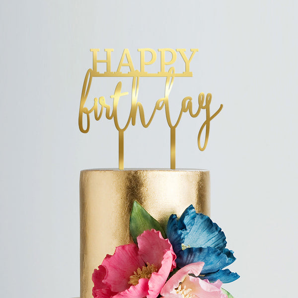 Birthday Cake Topper - Happy Birthday Gold