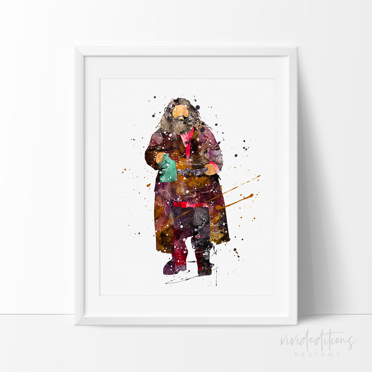Rubeus Hagrid, Harry Potter Watercolor Art Print Art Print - VIVIDEDITIONS