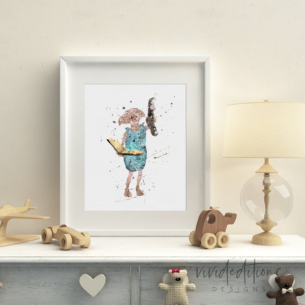 Dobby 3, Harry Potter Watercolor Art Print Art Print - VIVIDEDITIONS