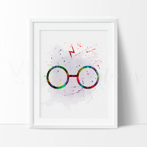 Harry Potter Glasses Watercolor Art Print Art Print - VIVIDEDITIONS