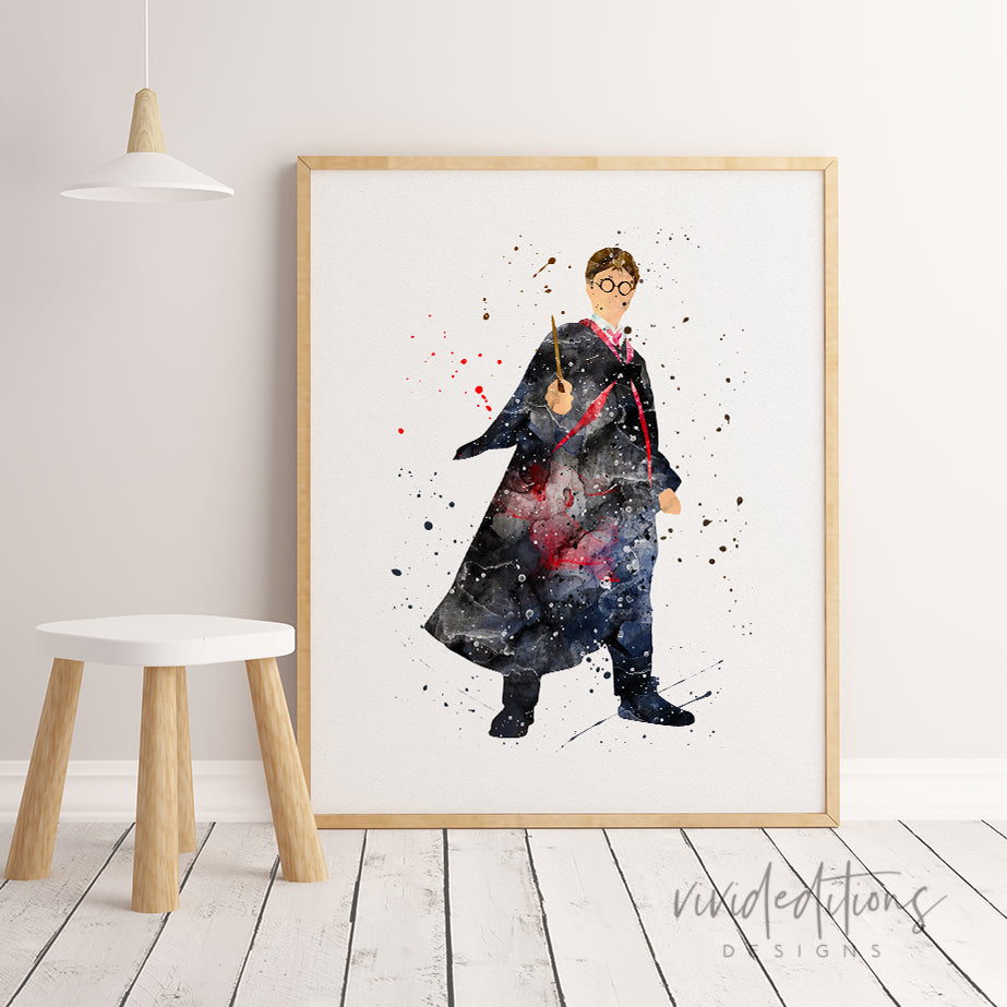 Harry Potter 2 Watercolor Art Print Art Print - VIVIDEDITIONS