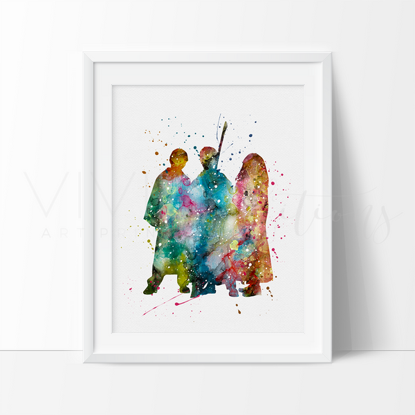 Harry Potter, Ronald Weasley & Hermione Granger 2 Watercolor Art Print Art Print - VIVIDEDITIONS