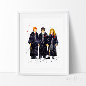 Harry Potter, Ronald Weasley & Hermione Granger 3 Watercolor Art Print Art Print - VIVIDEDITIONS