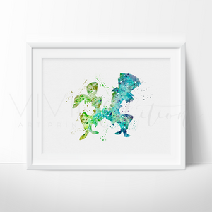 Hatter and March, Alice in Wonderland Watercolor Art Print Art Print - VIVIDEDITIONS