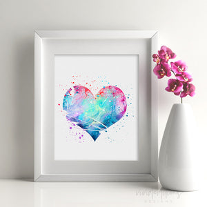 Heart Watercolor Art Print Art Print - VIVIDEDITIONS