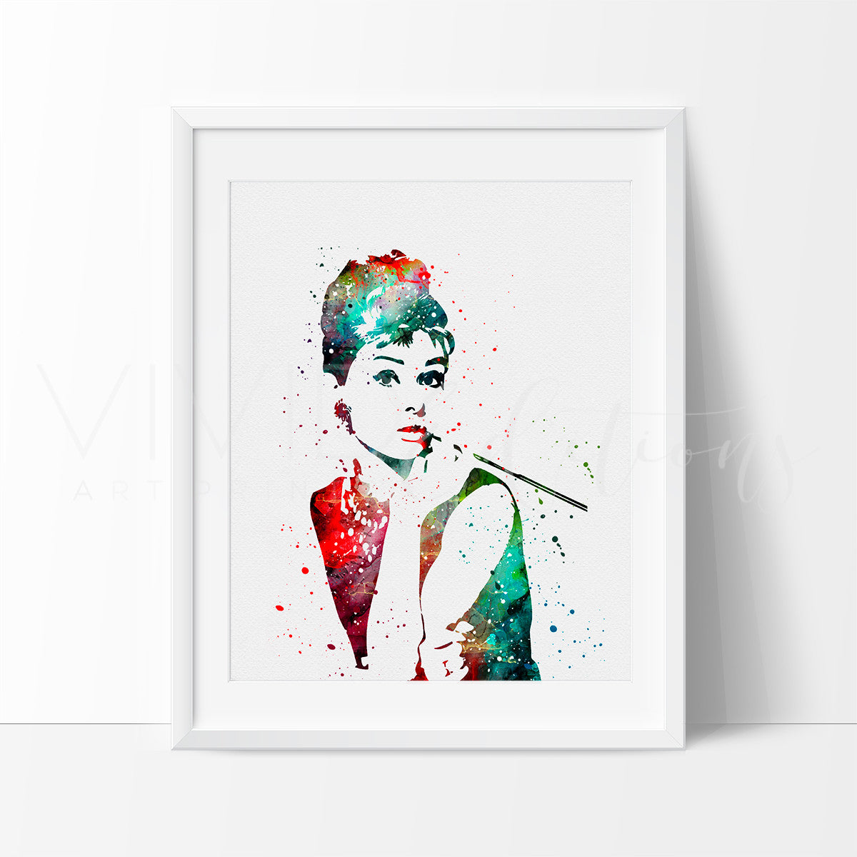 Audrey Hepburn, Breakfast at Tiffany's Watercolor Art Print Art Print - VIVIDEDITIONS