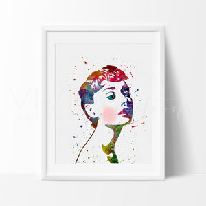 Audrey Hepburn Watercolor Art Print Art Print - VIVIDEDITIONS