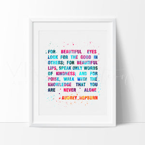 Audrey Hepburn Quote 2 Watercolor Art Print Art Print - VIVIDEDITIONS