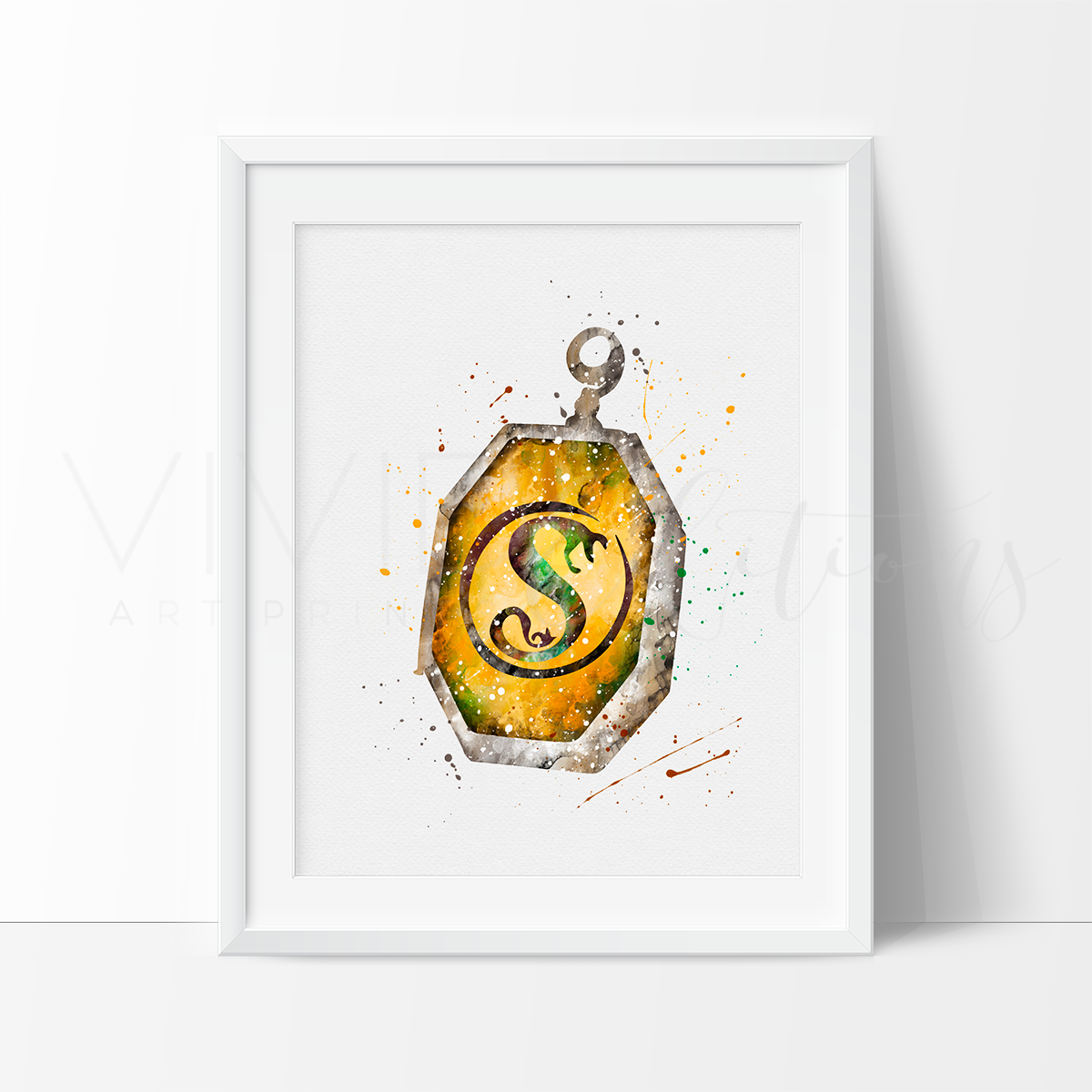 Horcrux Locket, Harry Potter Watercolor Art Print Art Print - VIVIDEDITIONS
