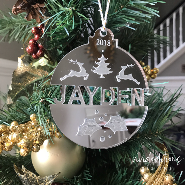 Personalized split name Christmas ornament, silver mirror