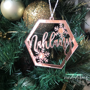Personalized Geometric Snowflake Christmas Ornament, Rose Gold Mirror