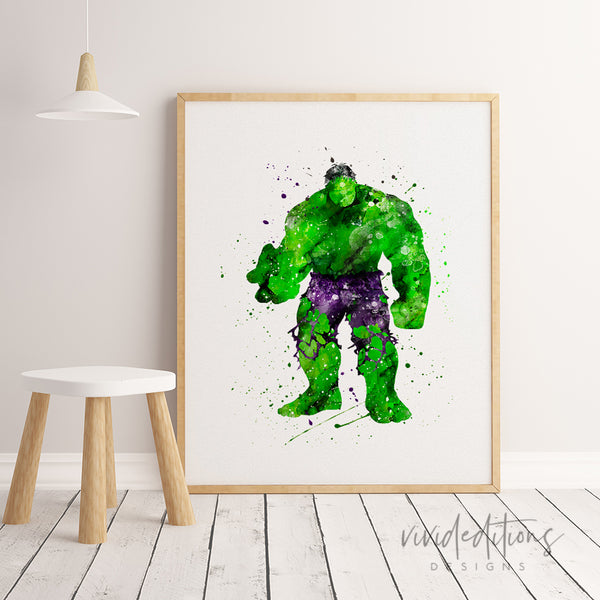 The Incredible Hulk 3 Watercolor Art Print Art Print - VIVIDEDITIONS