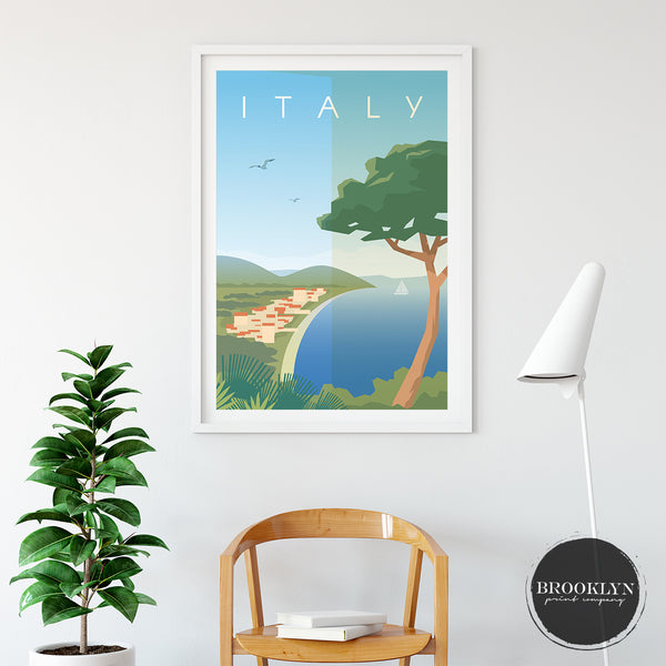 Italy Landscape City Map Travel Poster Art Print