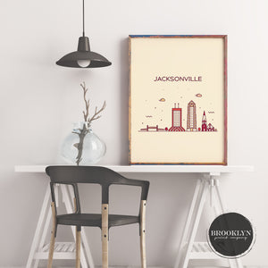 Jacksonville Skyline Travel Poster Art Print - VIVIDEDITIONS
