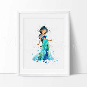 Princess Jasmine 3, Aladdin Watercolor Art Print Art Print - VIVIDEDITIONS