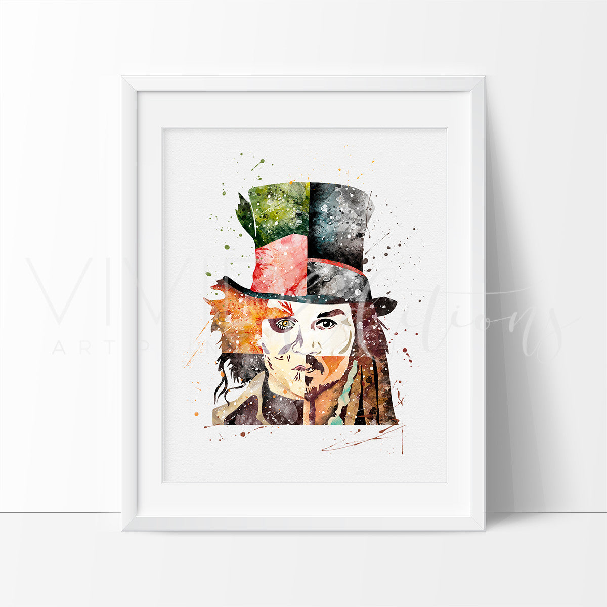 Johnny Depp Watercolor Art Print Art Print - VIVIDEDITIONS
